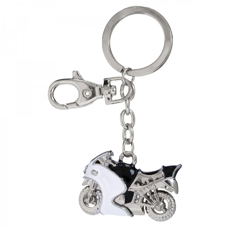 Chrome Motor Cycle Key Ring with Crystals - Click Image to Close