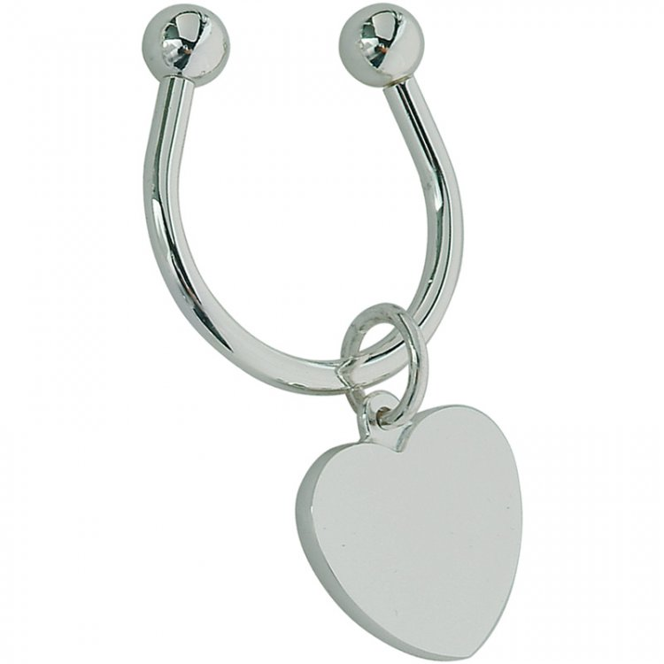Key chain with heart-shaped plate - Click Image to Close