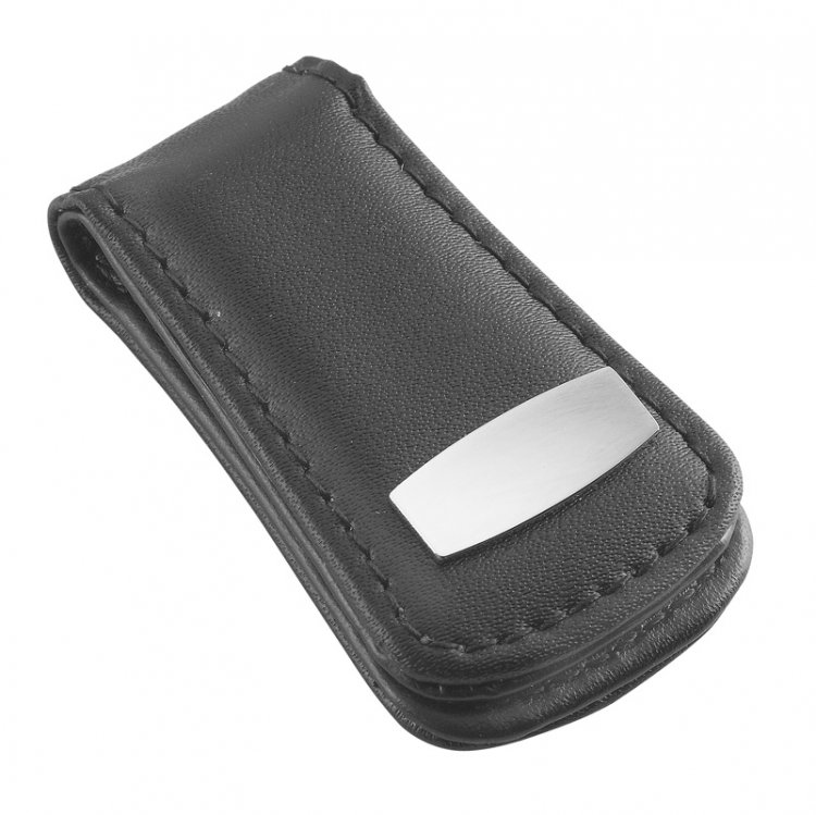 Money Clip in faux Leather Black - Click Image to Close