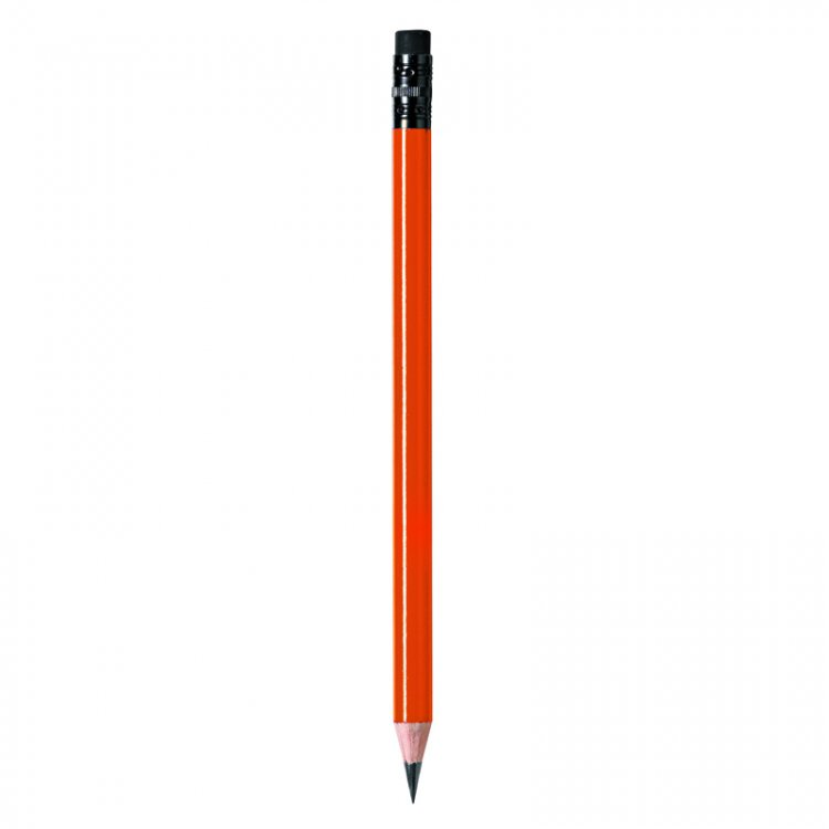 Pencil with orange body and black rubber - Click Image to Close