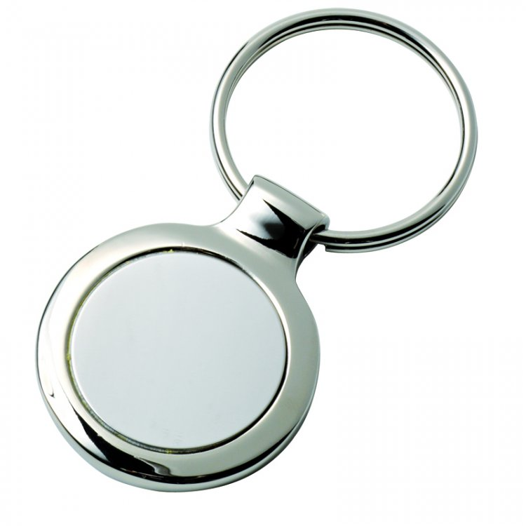 Key chain round chromed with detachable plate - Click Image to Close