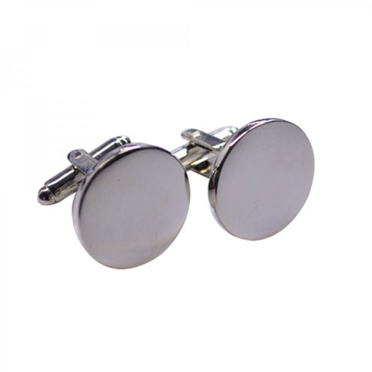 Round Chrome Cufflinks in Navy Box - Click Image to Close
