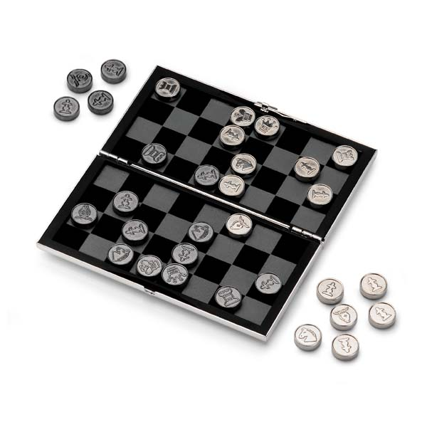 Silver Plated Travel Chess and Draughts Set - Click Image to Close